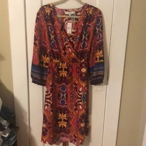 Loft Floral Tie-Belt Dress (Size L, with tags)